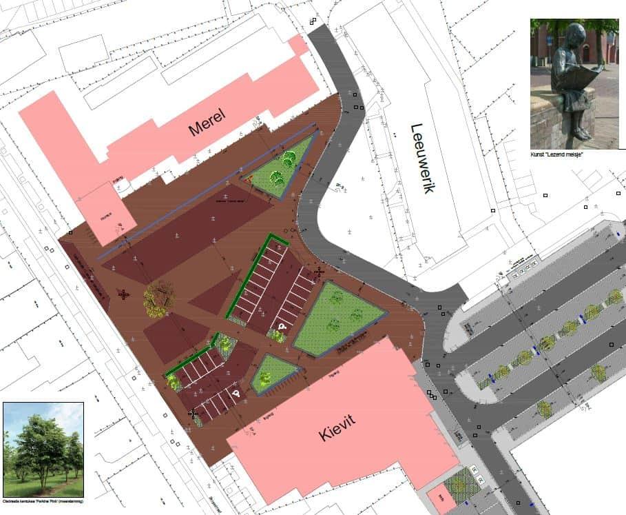 Het ontwerp van het nieuwe dorpsplein in plan Vogelenzang in Halsteren